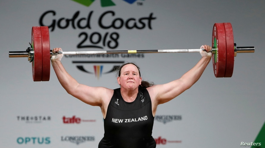 FILE - Weightlifter Laurel Hubbard of New Zealand competes at the Gold Coast 2018 Commonwealth Games, in Gold Coast, Australia, April 9, 2018.