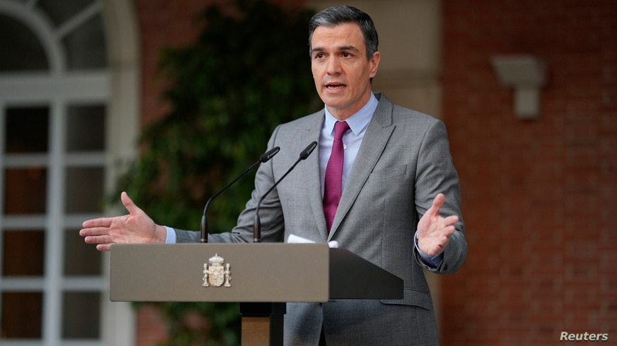 Spain's Prime Minister Pedro Sanchez delivers a statement as he announces pardons for jailed Catalan separatist leaders, at Moncloa Palace in Madrid, June 22, 2021.
