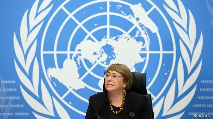 FILE - U.N. High Commissioner for Human Rights Michelle Bachelet attends a news conference at the European headquarters of the United Nations in Geneva, Switzerland, Dec. 9, 2020.