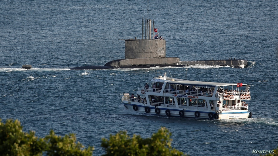 An Ay class submarine of the Turkish Navy sets sail in the Bosphorus towards Marmara Sea, in Istanbul, Turkey August 7, 2020…