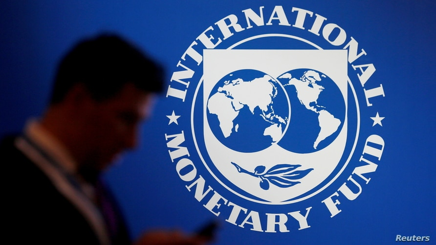 FILE PHOTO: A participant stands near a logo of IMF at the International Monetary Fund - World Bank Annual Meeting 2018 in Nusa…