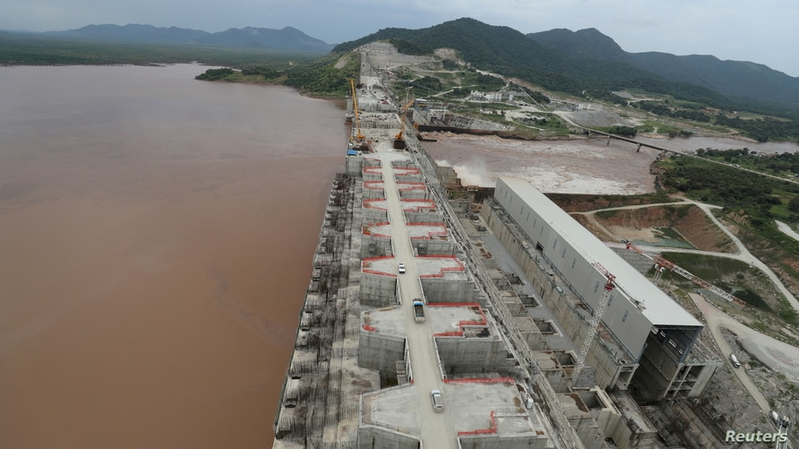 FILE PHOTO: Ethiopia's Grand Renaissance Dam is seen as it undergoes construction work on the river Nile in Guba Woreda,…