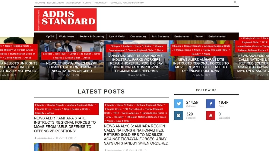 a portion of the addis standard home page.
