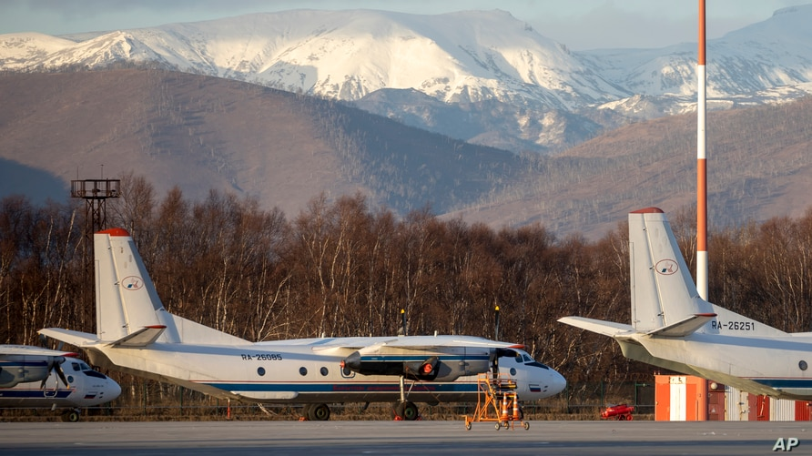 The Antonov An-26 with the same board number #RA-26085 as the missed plane is parked at Airport Elizovo.
