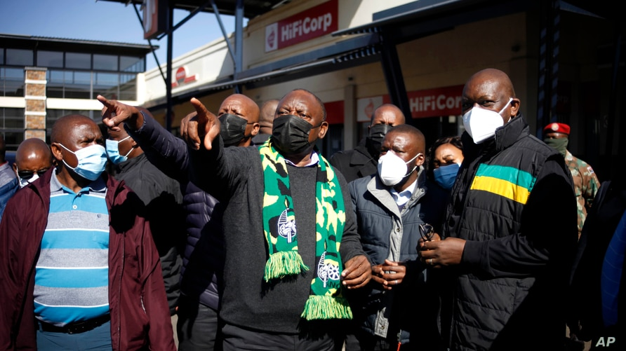 South African President Cyril Ramaphosa, on a visit to Soweto, South Africa, Sunday July 18 2021. Ramaphosa went to…