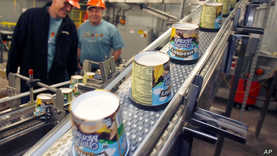 FILE — In this March 23, 2010 file photo ice cream moves along the production line at Ben & Jerry's Homemade Ice Cream, in…