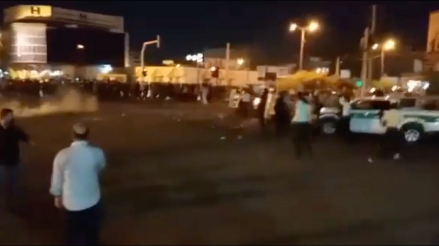 In this screen grab of an image shared on social media, Iranian security forces appear to deploy in the Khuzestan provincial city of Izeh on July 20, 2021 in response to antigovernment protests. VOA cannot verify the image.