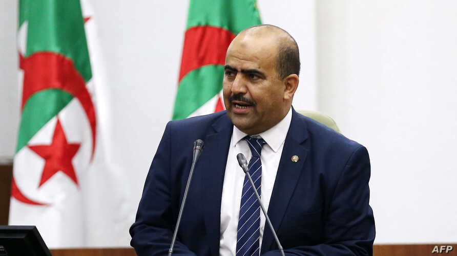 Newly elected speaker of Algeria's parliament, Slimane Chenine, leader of a parliamentary alliance of three small Islamist parties -- Ennhada, Adala and El Bina, deleivers a speech late on July 10, 2019 in Algiers. / AFP / -
