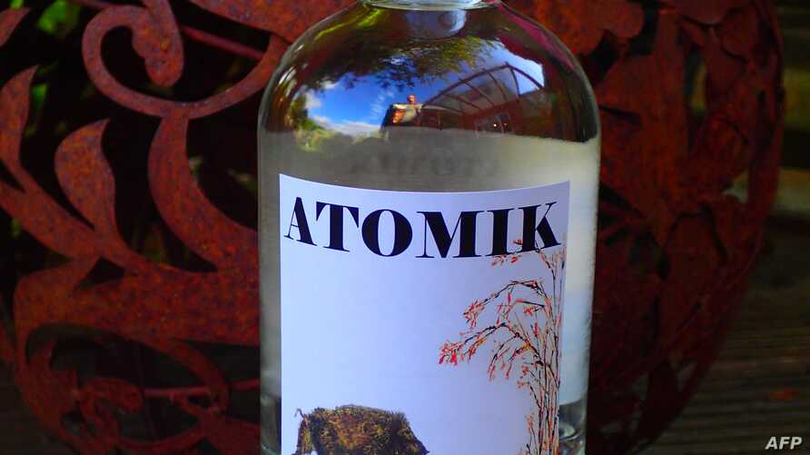 "An undated handout photo received in London on August 8, 2019 from by The University of Portsmouth show a labelled bottle of 'ATOMIK' vodka.  A team of British scientists has helped produce a radioactivity-free vodka called ""ATOMIK"" from crops near…"