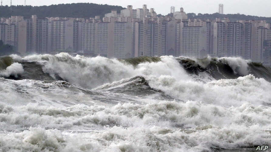 High waves batter a beach in the southern port city of Busan on September 7, 2019 as Typhoon Lingling approaches the Korean peninsula.  -  - South Korea OUT / REPUBLIC OF KOREA OUT  NO ARCHIVES  RESTRICTED TO SUBSCRIPTION USE     / AFP / YONHAP / …
