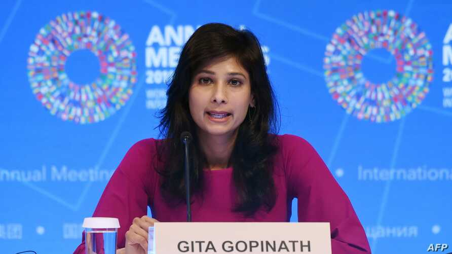 Gita Gopinath, IMF Chief Economist and Director of the Research Department,  speaks at a briefing  during the IMF and  World…