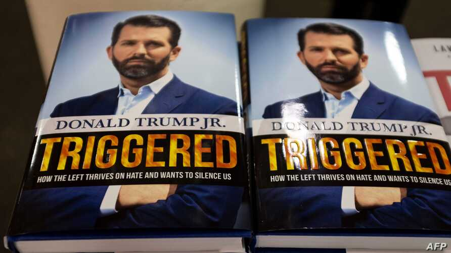 """The book """"Triggered: How the Left Thrives on Hate and Wants to Silence US,"""" by Donald Trump Jr. is viewed in a bookstore in…"""