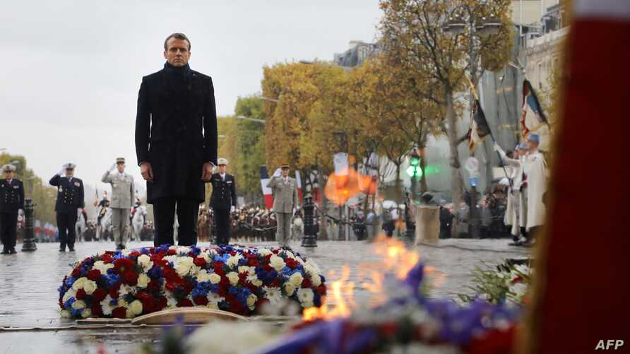 French President Emmanuel Macron at Arc de Triomphe ceremony in Paris to the Unknown Soldier at the Arc de Triomphe in Paris…