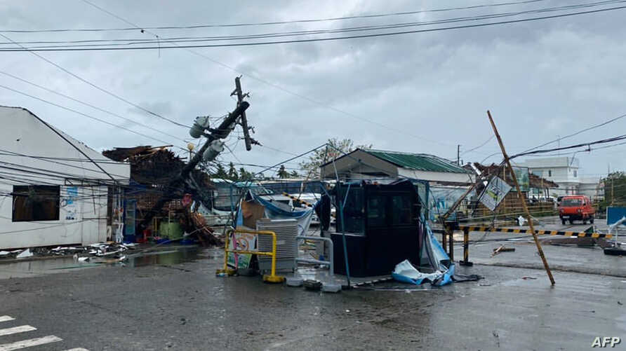 This undated handout image received courtesy of Jung Byung-joon on December 26, 2019 shows damage caused by Typhoon Phanfone…
