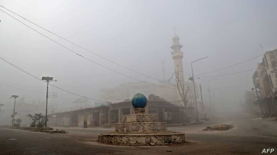 This picture taken on December 24, 2019 shows a view of a deserted square in Maaret Al-Numan in the northwestern Idlib province…