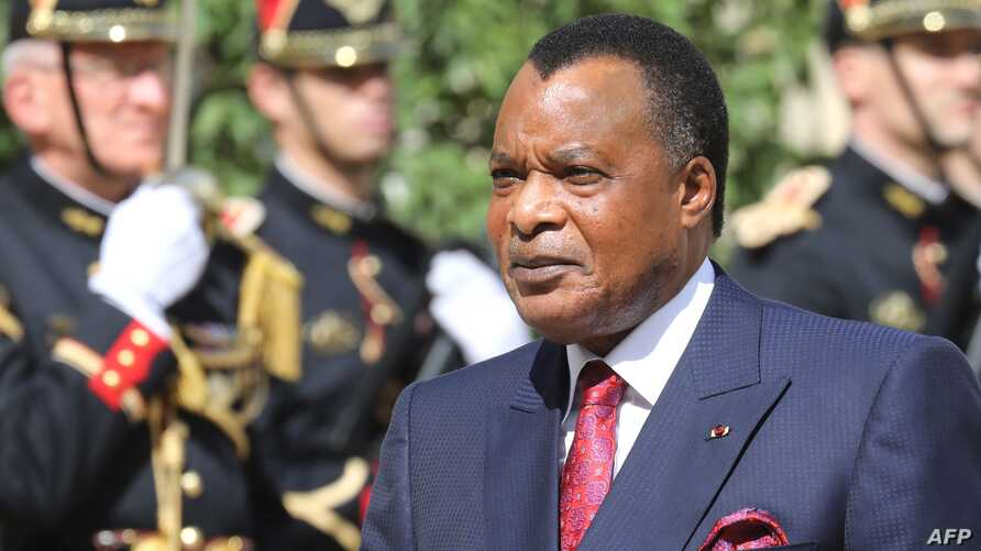 (FILES) In this file photograph taken on September 3, 2019, Democratic Republic of Congo's President Denis Sassou Nguesso…