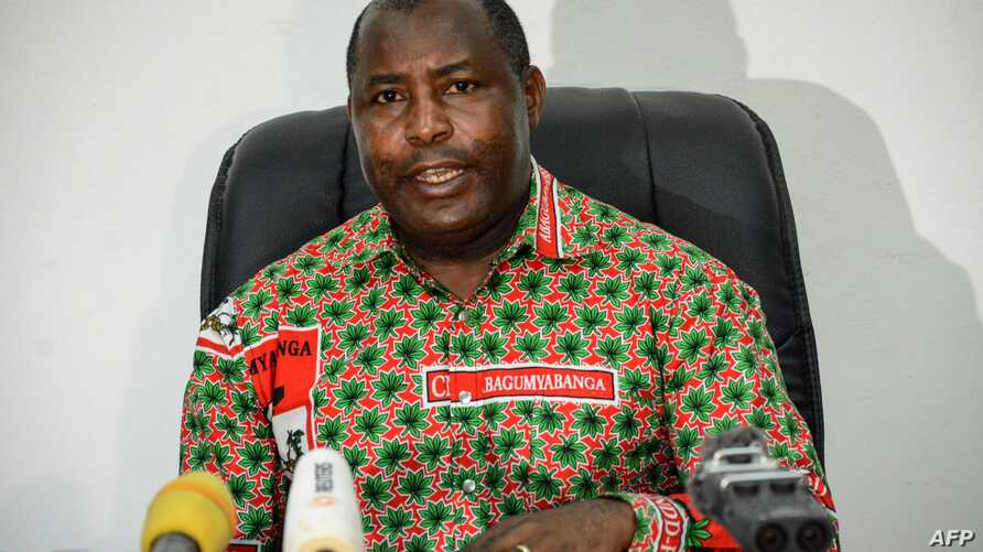 (FILES) In this file photo taken on May 22, 2018 The secretary general of the Burundi's ruling party CNDD-FDD Evariste…