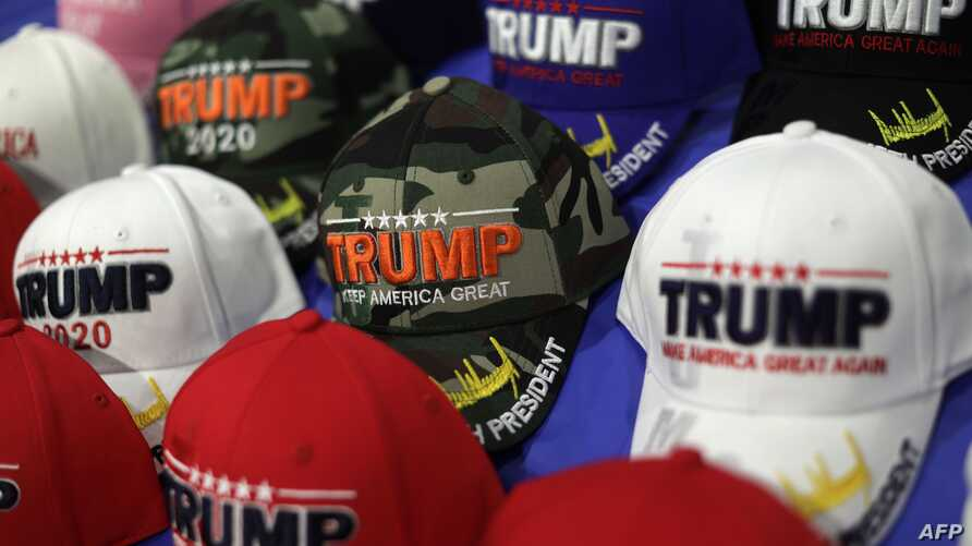 NATIONAL HARBOR, MARYLAND - FEBRUARY 26: Trump hats are on display at the annual Conservative Political Action Conference at…
