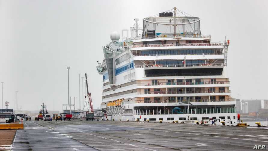 This photograph taken on March 11, 2020, shows the Italian registered cruise ship 'Aidamar', onboard which four people have…