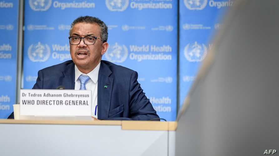 World Health Organization (WHO) Director-General Tedros Adhanom Ghebreyesus speaks during the daily press briefing on the new…