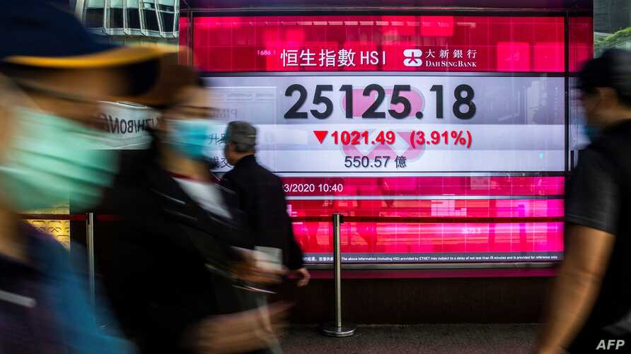 Pedestrians walk past an electronic sign displaying the Hang Seng Index in Hong Kong on March 9, 2020. - Hong Kong stocks ended…