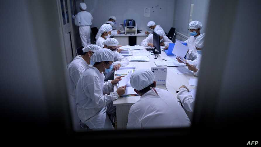 TOPSHOT - Researchers work in a lab at the Yisheng Biopharma company in Shenyang, in China's northeast Liaoning province on…