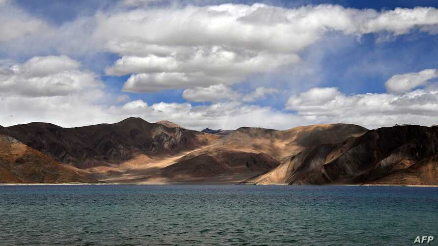 This photo taken on September 14, 2018, shows a general view of the Pangong Lake in Leh district of Union territory of Ladakh…