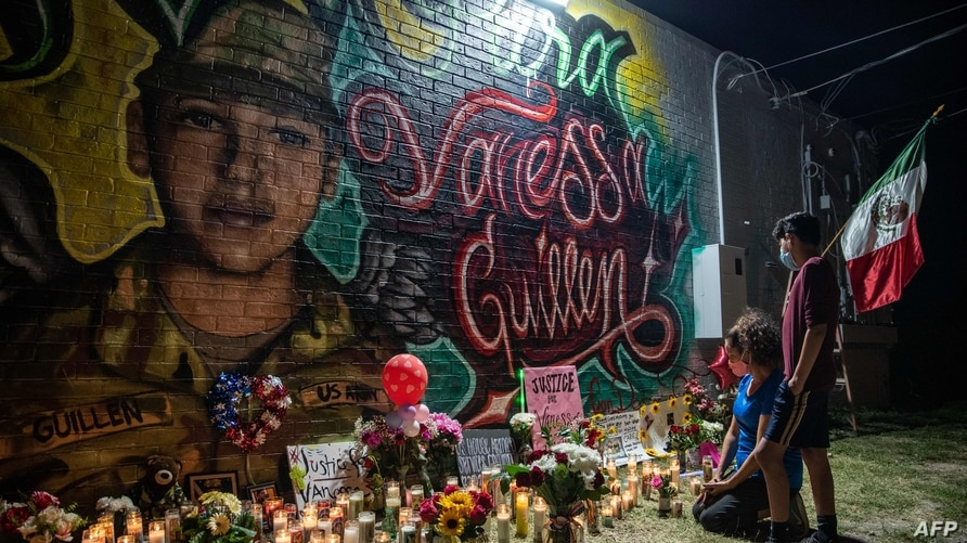 AUSTIN, TX - JULY 06: People pay respects at a mural of Vanessa Guillen, a soldier based at nearby Fort Hood on July 6, 2020 in…