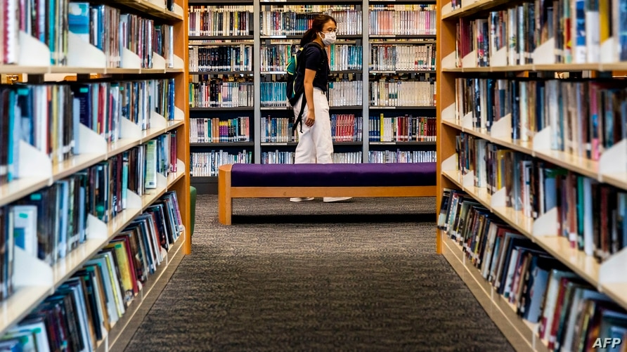 A women looks at books in a public library in Hong Kong on July 4, 2020. - Books written by prominent Hong Kong democracy…