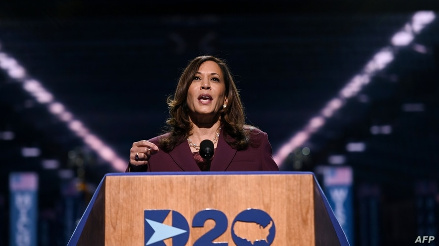 Senator from California and Democratic vice presidential nominee Kamala Harris speaks during the third day of the Democratic…