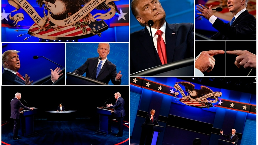 (COMBO) This combination of pictures created on October 22, 2020 shows US President Donald Trump and Democratic Presidential…
