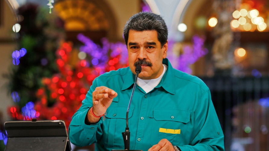 Handout picture released by the Venezuelan Presidency showing Venezuela's President Nicolas Maduro speaking during a televised…