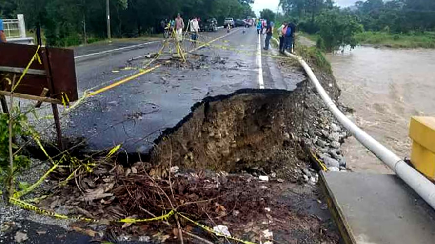Handout photo released by the Honduran Presidenty of the damaged road after the passage of Hurricane Iota in El Florido,…