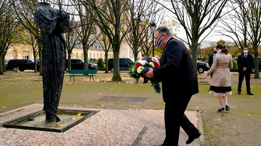 U.S. Secretary of State Mike Pompeo participates in a wreath-laying ceremony in homage to victims of attacks at Les Invalides…
