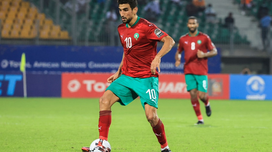 Morocco's Walid El Karti runs with the ball during the African Nations Championships (CHAN) football match between Morocco and…