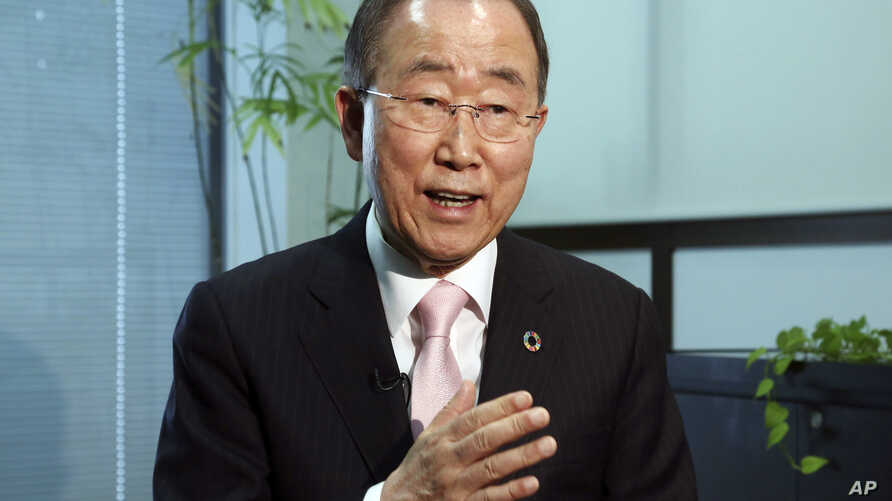 Former U.N. Secretary-General Ban Ki-moon speaks during an interview with the Associated Press in Tokyo, Monday, Dec. 3, 2018. Ban has urged North Korean leader Kim Jong Un to take concrete steps toward complete denuclearization and gain the trust…