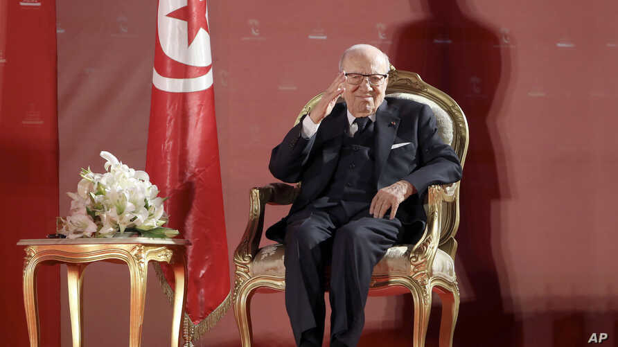 FILE - This photo provided by the Tunisian presidency shows the Tunisian President Beji Caid Essebsi during a meeting in Monastir, eaqtern Tunisia Saturday, April 6, 2019.