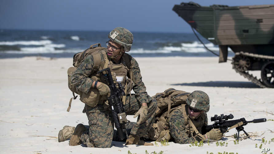 U.S. Marines take part in a landing operation during military Exercise Baltops 2018 at the Baltic Sea, about 340 kms (211 miles) west north of the capital Vilnius, Lithuania, June 4, 2018.
