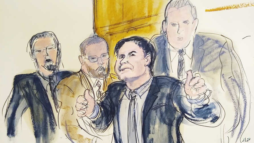 """In this courtroom drawing, Joaquin """"El Chapo"""" Guzman, second from right,  gestures a """"thumbs up"""" as he leaves the courtroom, Feb. 12, 2019, in New York. The notorious Mexican drug lord lost his bid for a new trial, July 3, 2019."""
