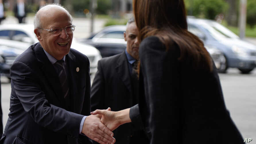 Portuguese Minister of Foreign Affairs Augusto Santos Silva arrives for the inaugural meeting of the International Contact Group on Venezuela, in Montevideo, Uruguay, Feb. 7, 2019.