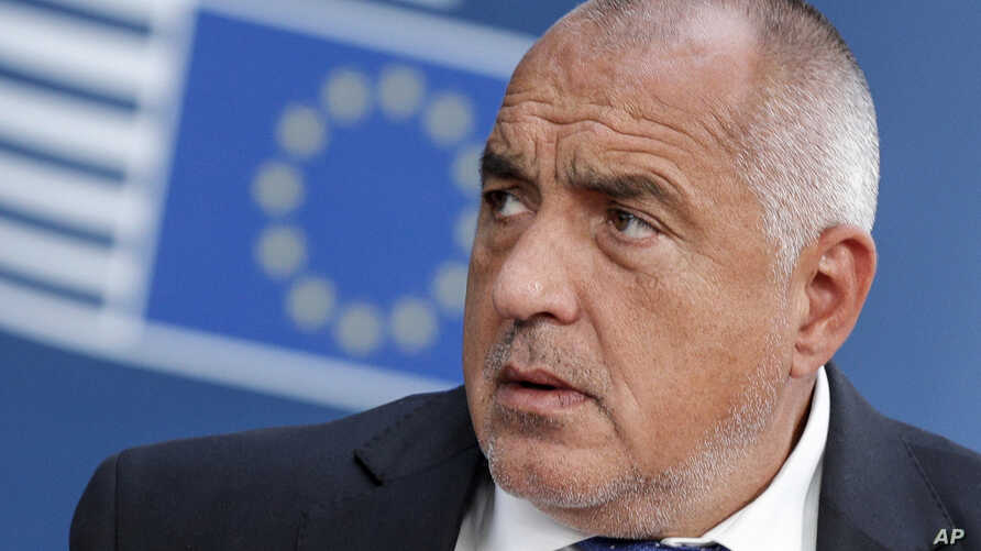 FILE - In this Tuesday, July 2, 2019 file photo, Bulgarian Prime Minister Boyko Borissov arrives for an EU summit in Brussels. Bulgarian officials say unidentified hackers have stolen the personal details of millions of people from Bulgaria's…