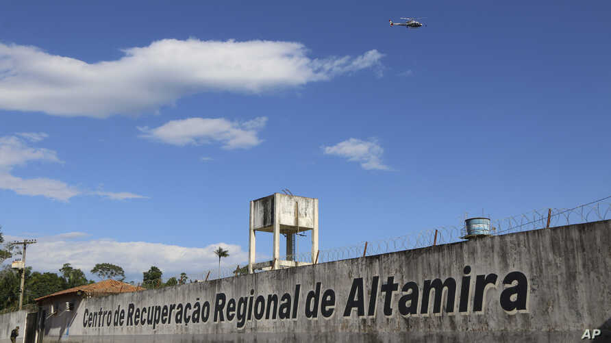 A police helicopter flies over the Regional Recovery Center, a prison, in Altamira, Para state, Brazil, July 29, 2019.
