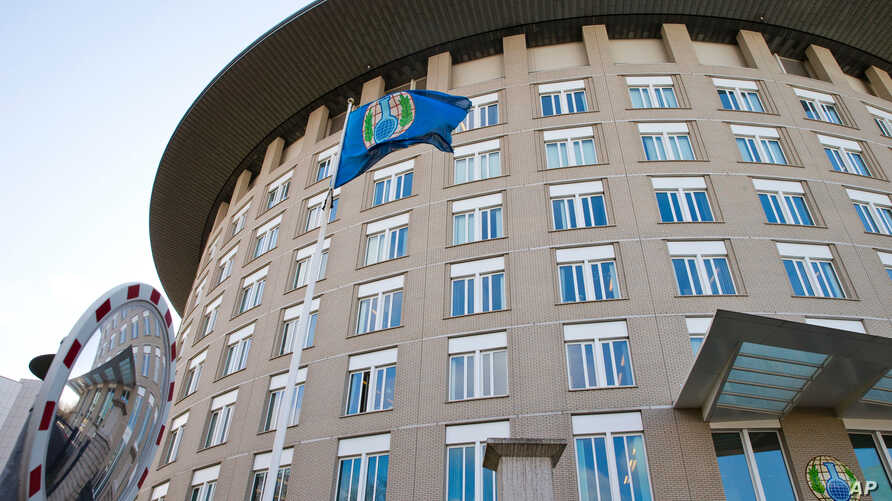FILE - This Wednesday, March 21, 2018 file photo shows the headquarters of the Organization for the Prohibition of Chemical Weapons (OPCW) in The Hague, Netherlands. Member states of the global chemical weapons watchdog are meeting on Wednesday…