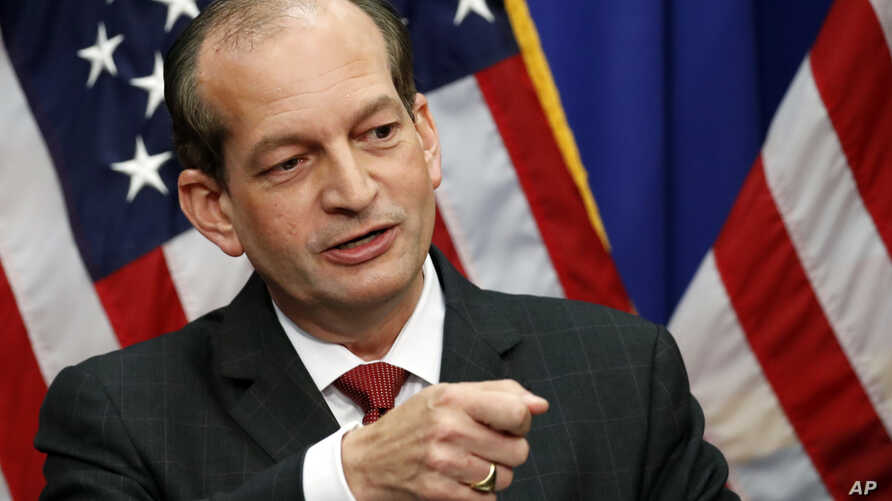 Labor Secretary Alex Acosta speaks during a media availability session at the Department of Labor, July 10, 2019, in Washington.