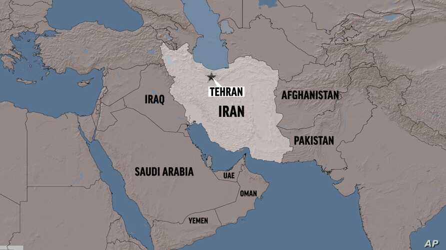 IRAN shaded relief map with TEHRAN (capital) locator, partial graphic