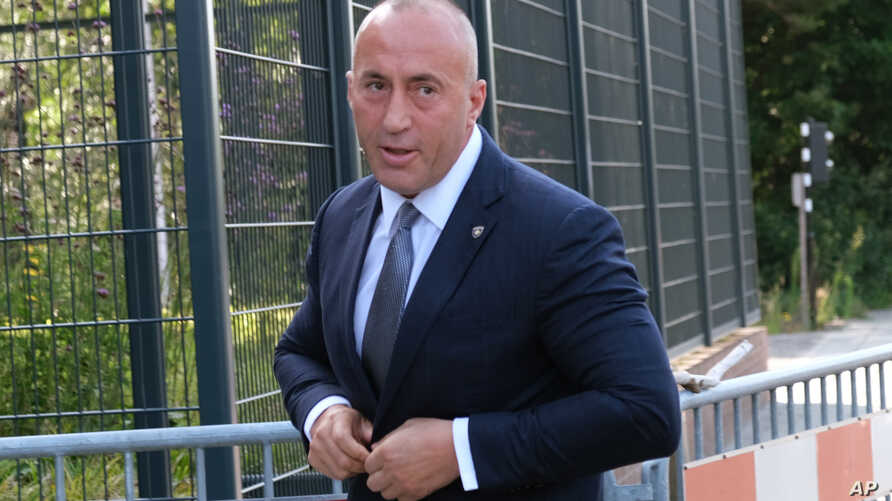 Former Kosovo Prime Minister Ramush Haradinaj arrives for a Kosovo tribunal, at the Hague, Netherlands,  Wednesday, July 24, 2019. Haradinaj will be questioned by a special court investigating alleged war crimes by members of the separatist Kosovo…