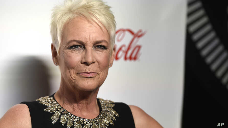 """FILE - In this April 4, 2019 file photo, Jamie Lee Curtis, recipient of the CinemaCon vanguard award, poses at the Big Screen Achievement Awards at Caesars Palace in Las Vegas.  Universal says it will release two new """"Halloween"""" films, including one…"""