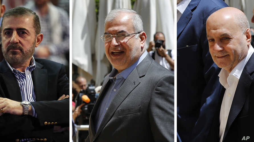 This combination of three photo shows, from left, Wafiq Safa, a top Hezbollah security official, and Lebanon Parliament members Muhammad Hasan Ra'd and Amin Sherri in Beirut. The U.S. Treasury Department is imposing sanctions on the three men.