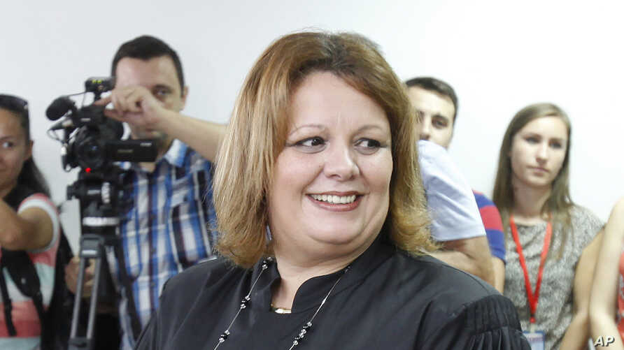 Public prosecutor Katica Janeva takes an oath as a special prosecutor to investigate claims that the conservative government ordered a massive wiretapping operation, Skopje, Macedonia, Sept. 16, 2015. Janeva unexpectedly resigned in July.
