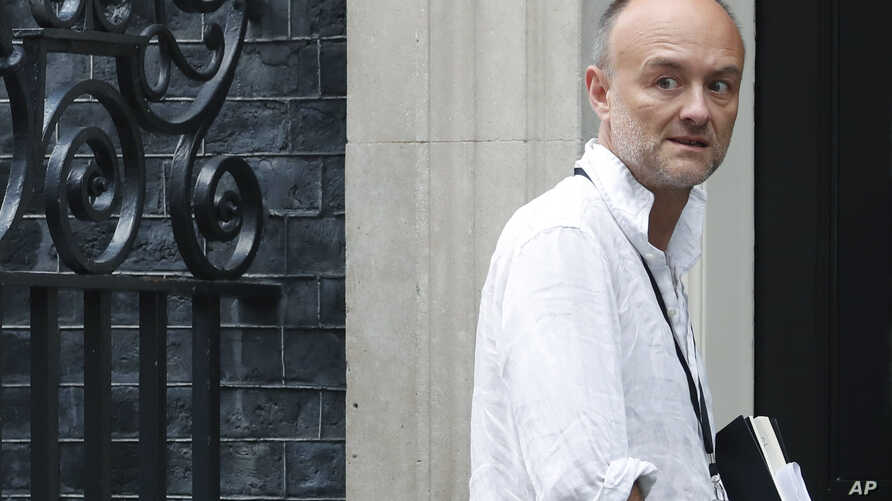 Dominic Cummings a British political strategist and special adviser to Prime Minister Boris Johnson walks into 10 Downing Street in London, Tuesday, July 30, 2019. (AP Photo/Alastair Grant)